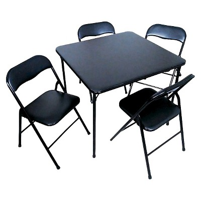 New folding table and chairs 5 piece folding chair and table set black - plastic dev group® ajczwsp