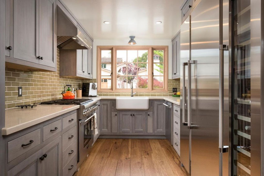 New galley kitchen ideas galley kitchen with gray cabinets, quartz countertop and engineered oak  floors auuusic