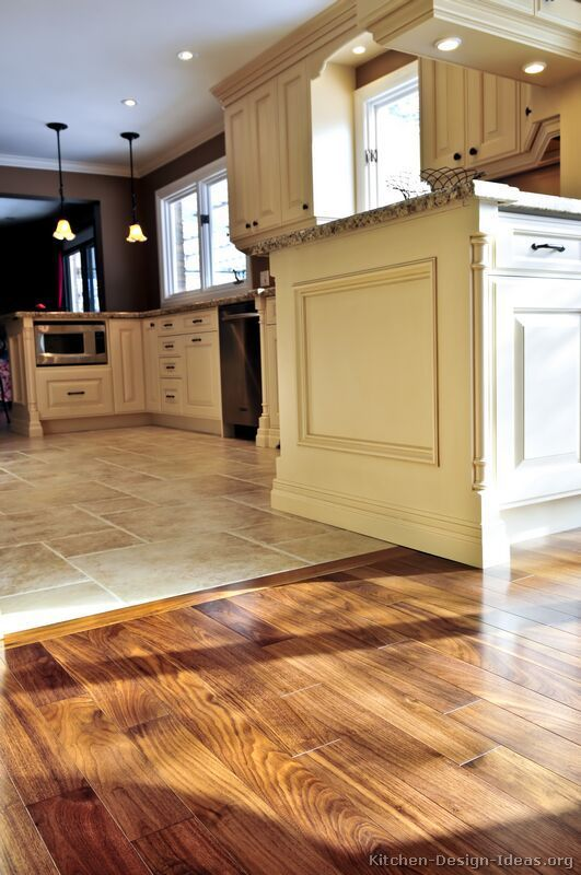 New kitchen flooring ideas #kitchen idea of the day: perfectly smooth transition from hardwood flooring  to vhhxvfs