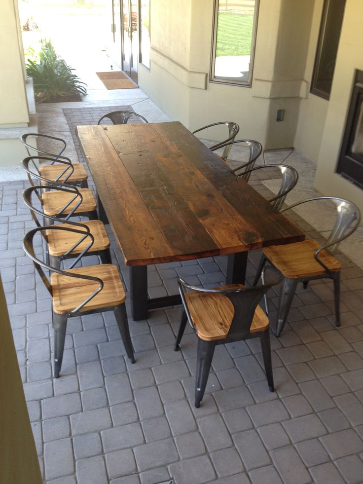 New reclaimed wood and steel outdoor dining table 1 nvthvbu