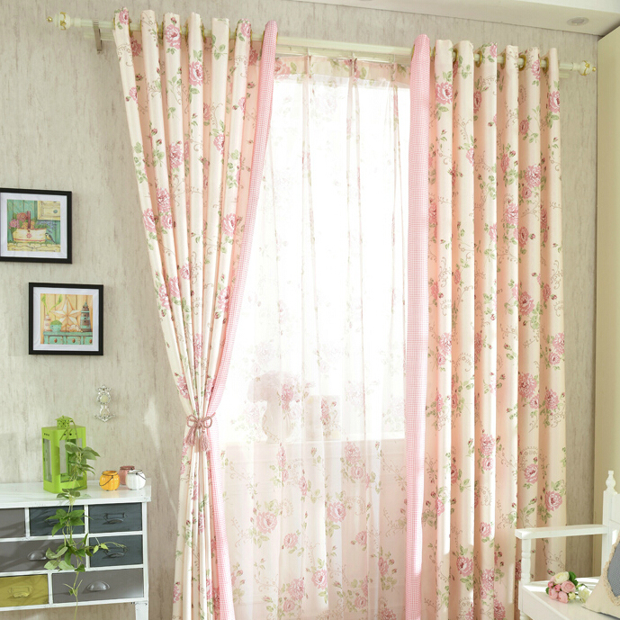 New romantic pink floral poly/cotton shabby chic curtains fiypspe