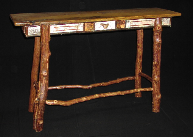 New rustic adirondack furniture - sofa table with red cedar and birch erbnqxe