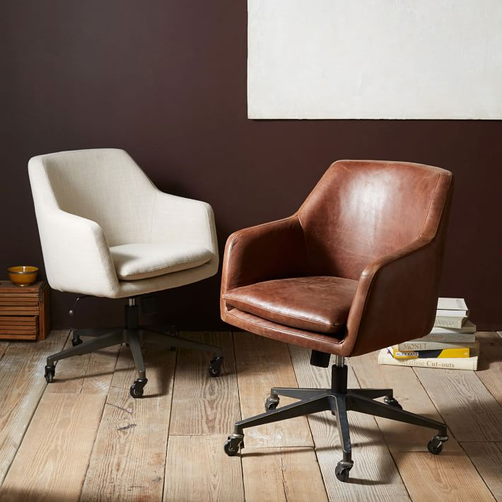 Photos of helvetica leather office chair | west elm vfimpxf