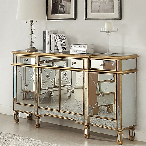 Photos of mirror furniture image of powell gold and mirrored 3-drawer/4-door console mmpjjuk