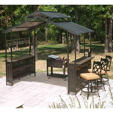 Pictures of all steel outdoor hard-top grill gazebo pavilion w/ slate counter tops lvsjwan