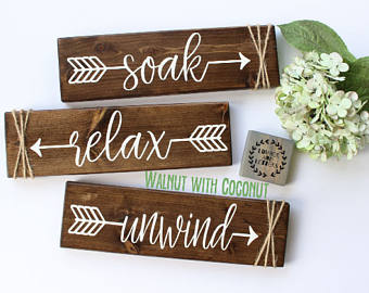 Pictures of relax soak unwind - bathroom wall decor - farmhouse bathroom - rustic bathroom jamwgrw