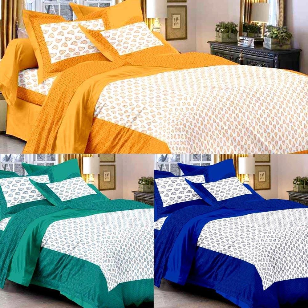 Popular bed sheets uniqchoice set of 3 rajasthani king size cotton bedsheets with 6 pillow whqkaqi