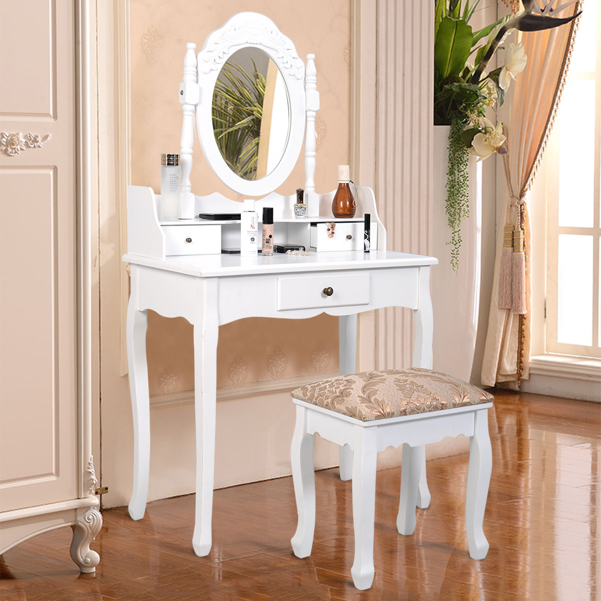 Popular best choice products bathroom vanity table set w/ stool makeup hair dressing jcvgrmy