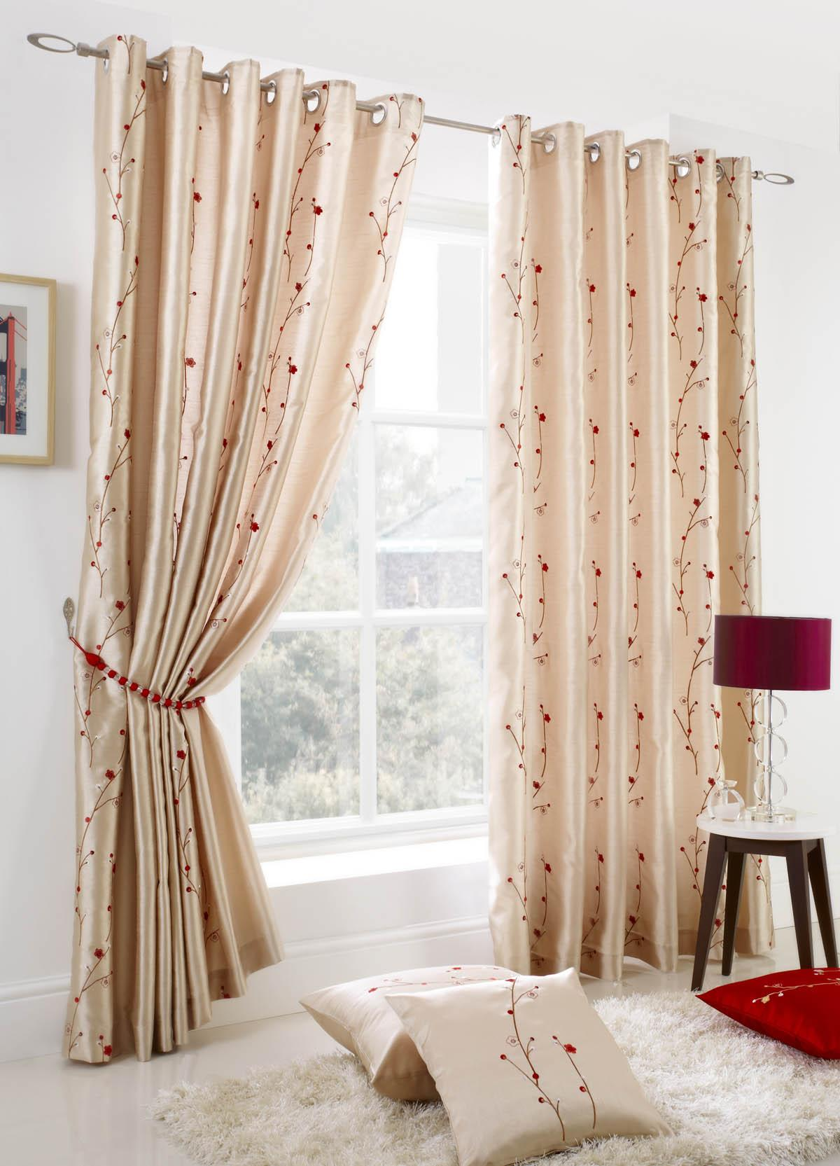 Popular cream curtains blossom ready made lined eyelet curtains gluziyv