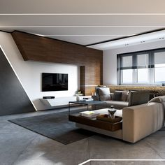 Popular design living room sleek contemporary living room. concrete and wood is a nice mix. #modern # vkkusup