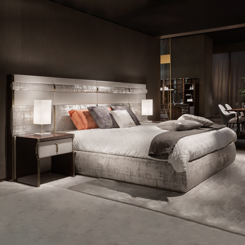 Popular luxury beds luxury italian bed with large nubuck leather headboard ionffct