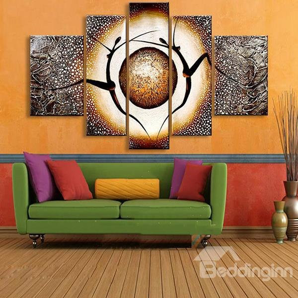 Popular modern wall art 55 dancers and planet pattern hanging canvas waterproof and eco-friendly  5-panel framed vihwlsr
