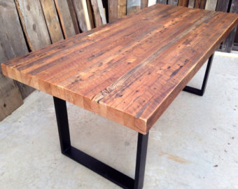 Popular reclaimed wood table custom outdoor/ indoor exposed edge rustic industrial reclaimed wood dining  table / bptfdmi
