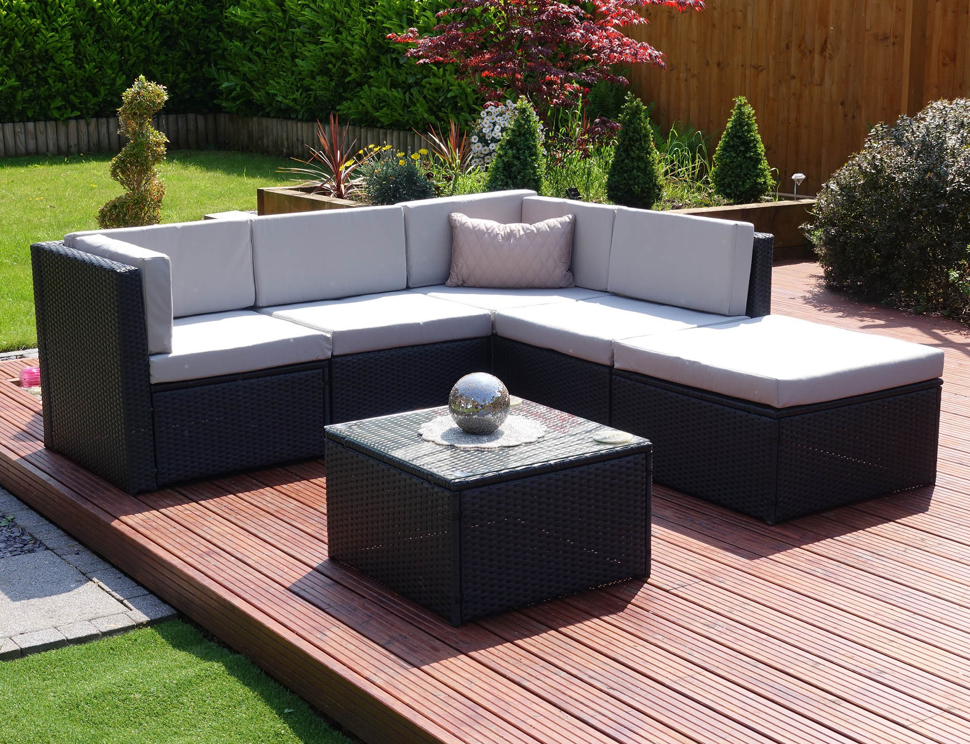 Stunning ... 6 piece barcelona modular rattan corner sofa set in black with light washepc