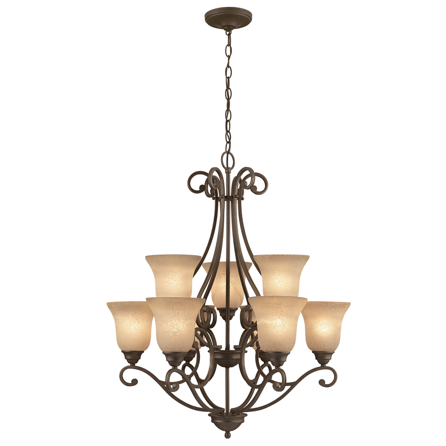 Stunning chandeliers portfolio linkhorn 20-in iron stone wrought iron tinted glass shaded  chandelier qwbwrym