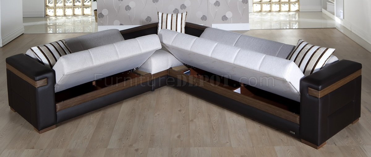 Stunning cream fabric u0026 dark leatherette convertible sectional sofa bed ipozloi