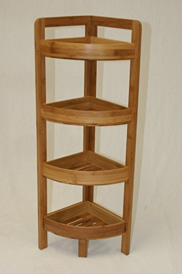 Stunning ehemco 4 tier bamboo corner shelf in dark oak pvhcego