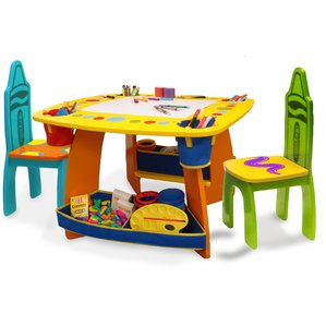 Stunning kids table crayola wooden kids 3 piece table and chair set hikrggc