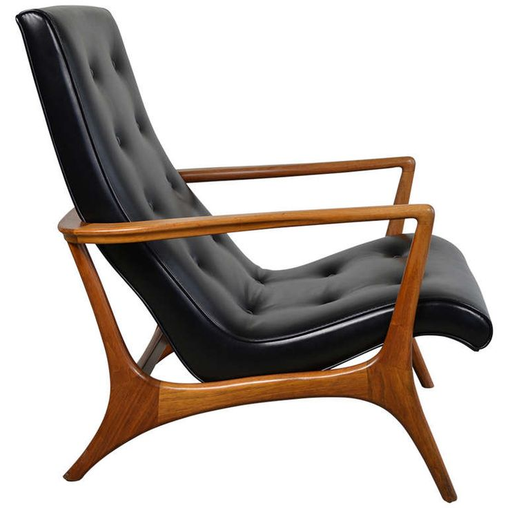 Stunning mid-century modern walnut and leather lounge chair crbtjnn