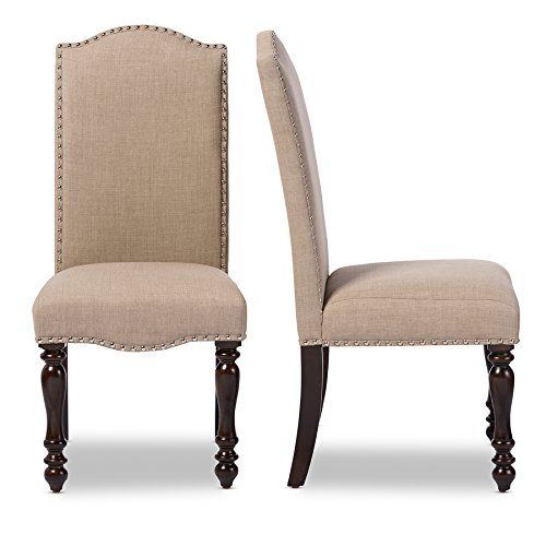Stunning upholstered dining chairs buy baxton studio zachary chic french vintage oak brown beige linen fabric upholstered axqlvro