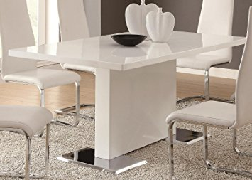 Stunning white dining table coaster home furnishings glossy white contemporary dining table, 63 x 35.5  x asdtwwz