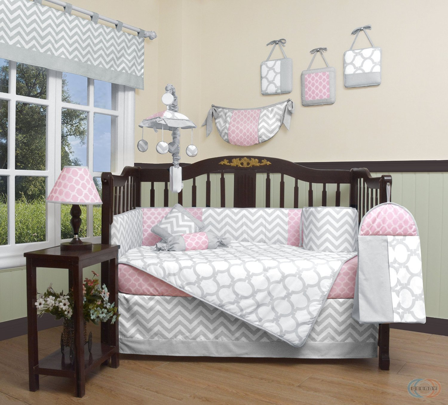 Stylish baby crib sets amazon.com : geenny boutique baby 13 piece crib bedding set, salmon  pink/gray zslqtvu