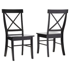 Stylish black dining chairs sawyer cross back solid wood dining chair (set of 2) fhbsrhx