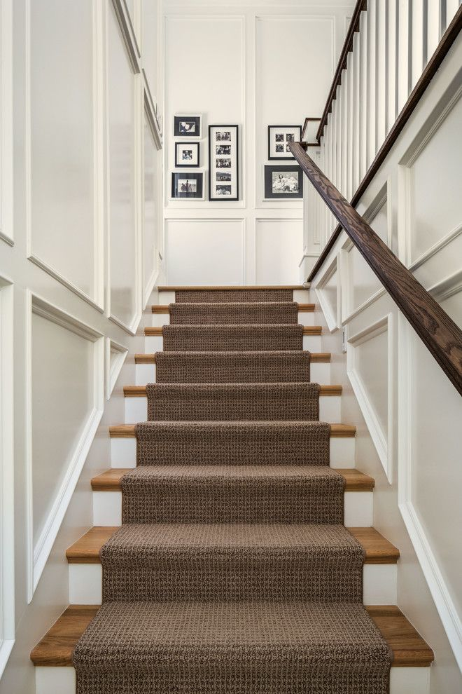 Stylish carpet runner carpeting stairs staircase traditional with black and white photography  brown runner recessed txgkbea