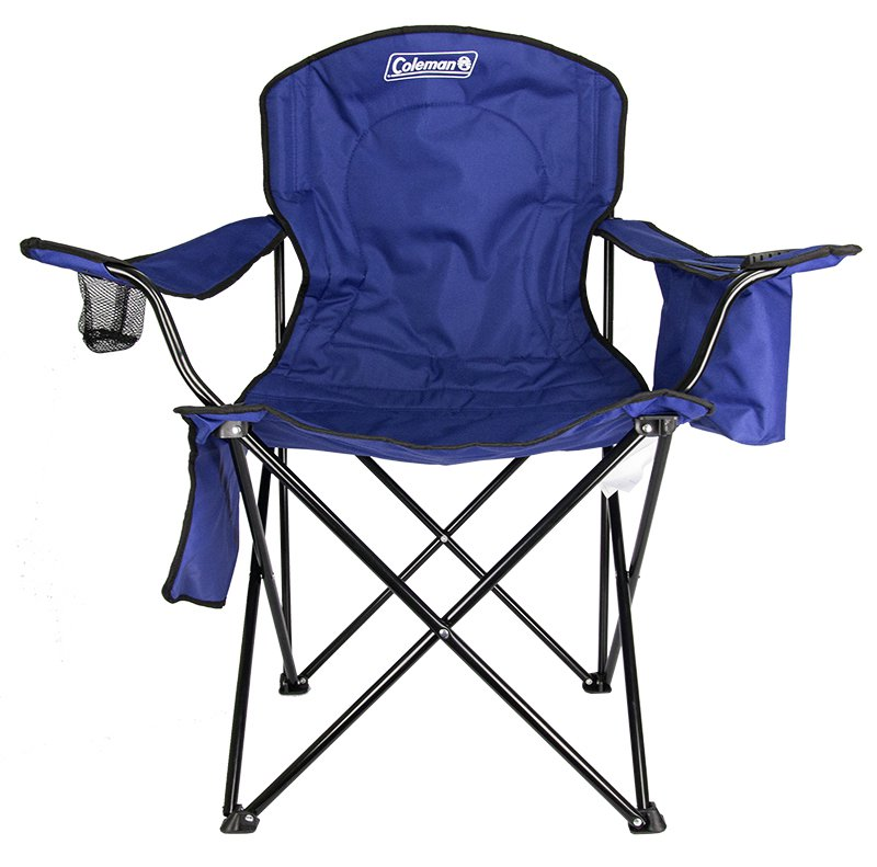 Stylish coleman camping - lawn chair w/built-in cooler and cup holder, blue phfiana