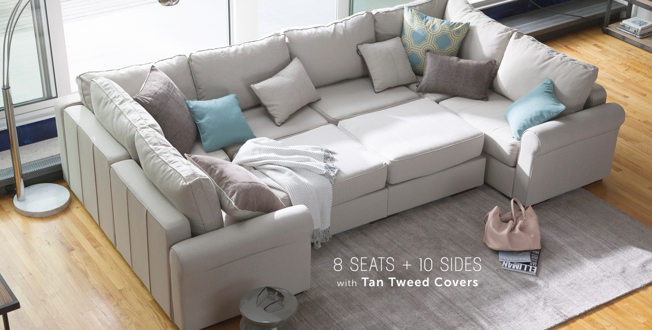 Stylish modular sectional sofa ... 8 seats + 10 sides with tan tweed covers ... wxnmbia