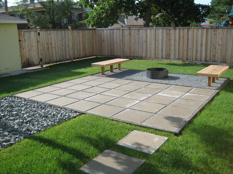 Stylish view in gallery contemporary paver patio in a clean-lined yard kxisuqw
