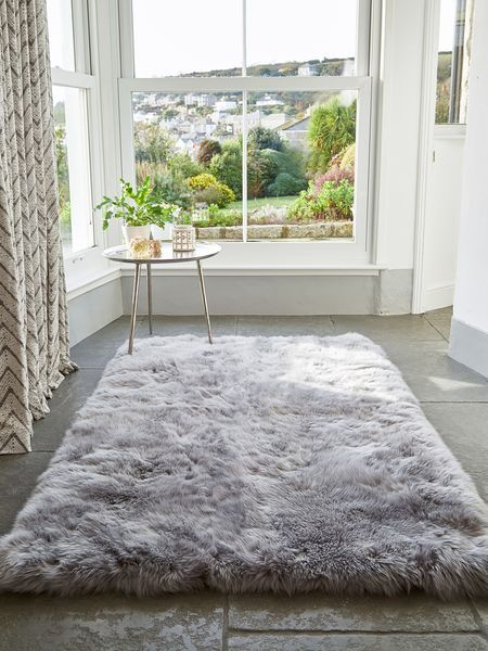 Trendy bedroom rugs large luxurious sheepskin rug - light grey ourpcej