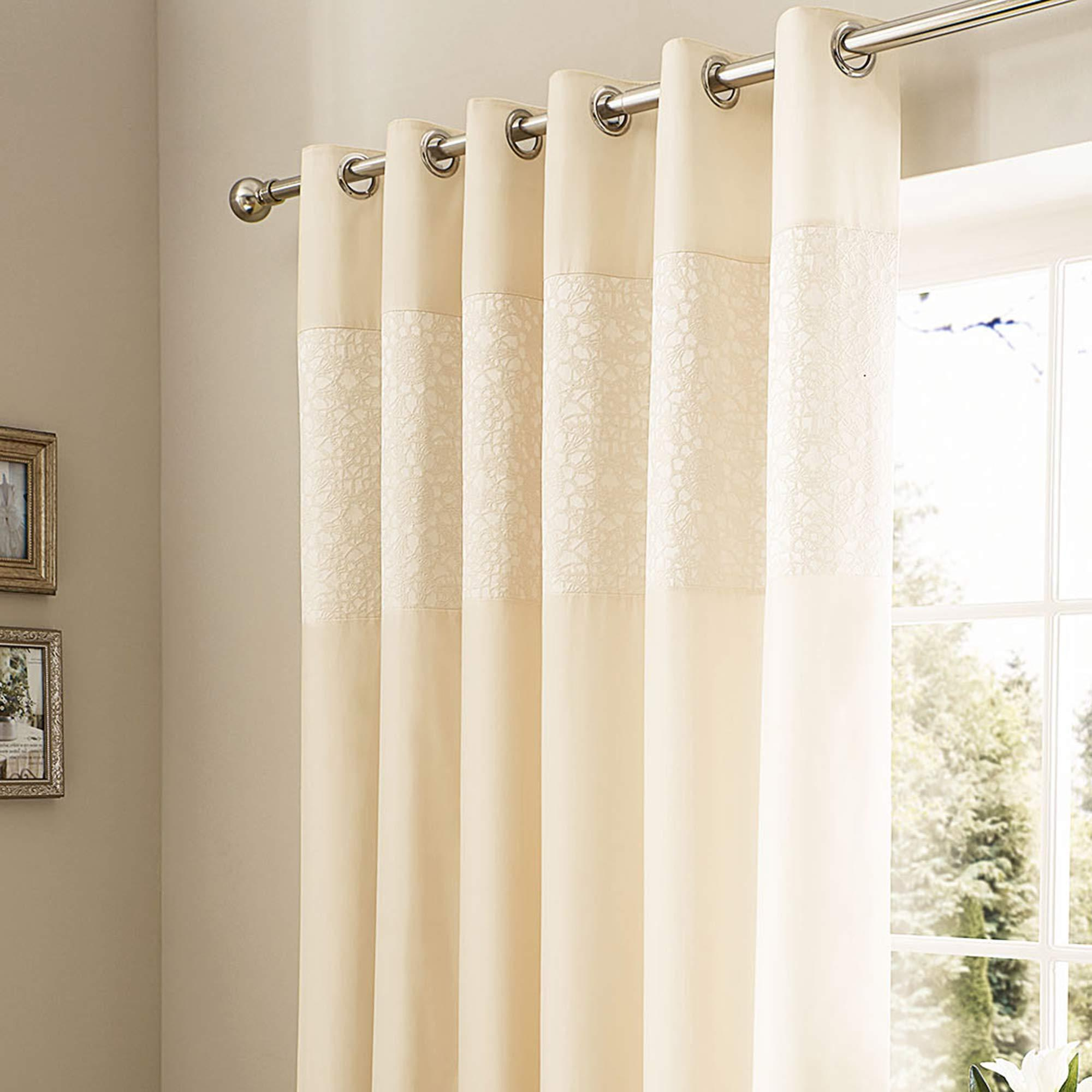 Trendy cream curtains crochet jacquard cream thermal eyelet curtains | dunelm ydwyukh