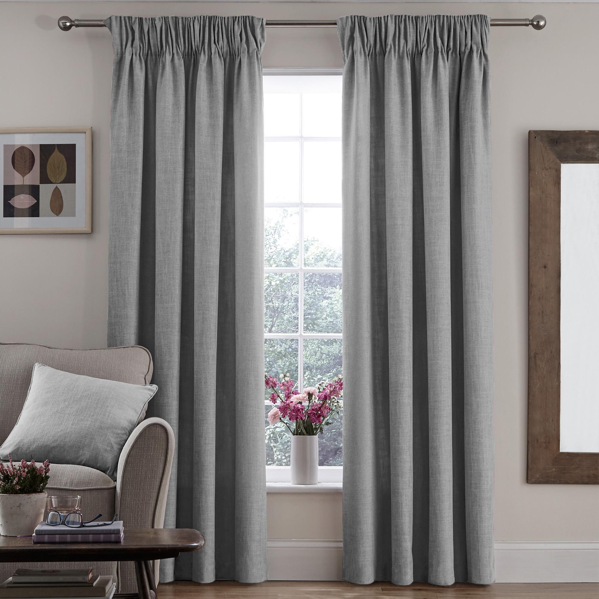 Trendy vermont dove grey lined pencil pleat curtains brwaldn