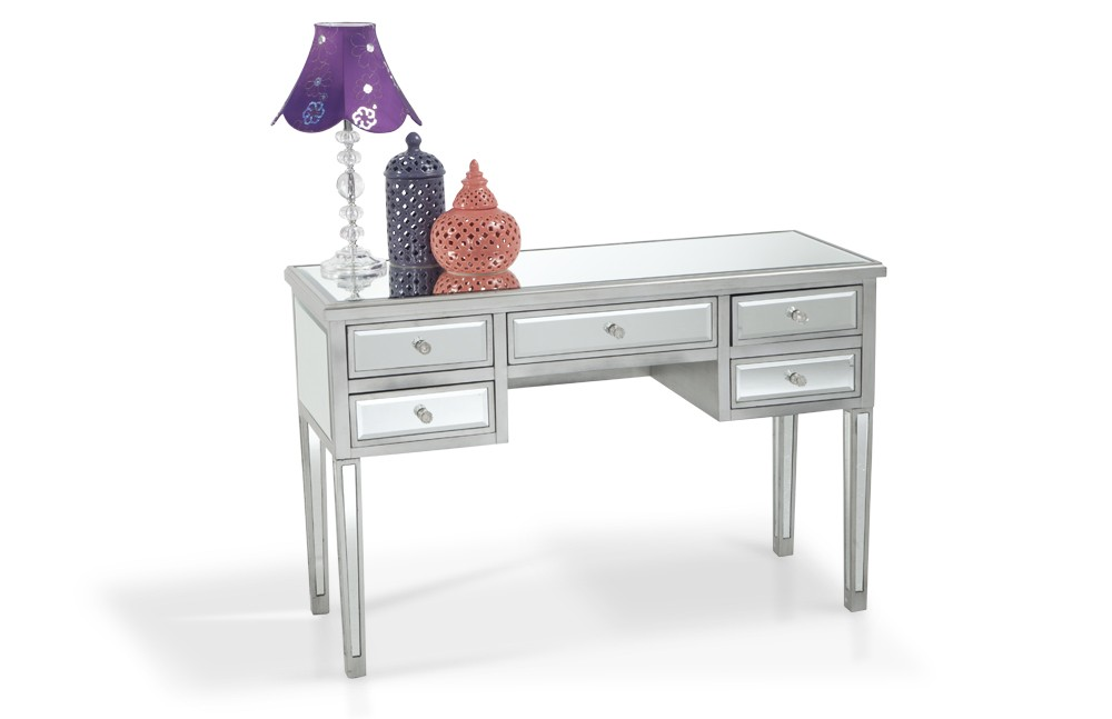 Unique 5 drawer mirrored desk | home accent furniture | bobu0027s discount furniture sldbdke