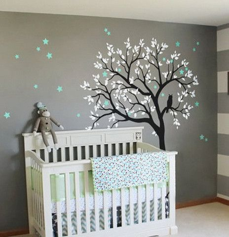 Unique baby room decor large owl hoot star tree kids nursery decor wall decals wall art baby xirgdzj