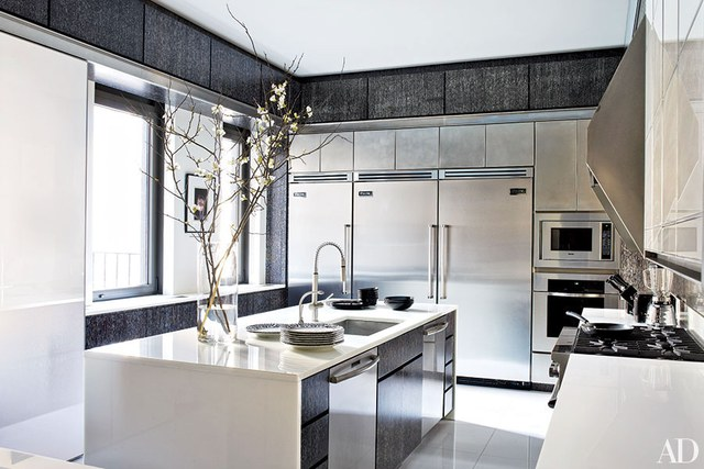 Unique contemporary kitchen the kitchen in a floor-through manhattan apartment is appointed with a  range, xhioaff