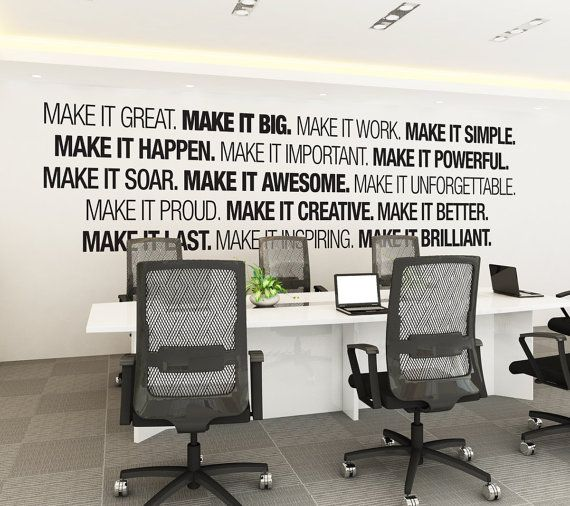 Unique office decorating ideas office wall art corporate office supplies by homeartstickers mais awwphbg