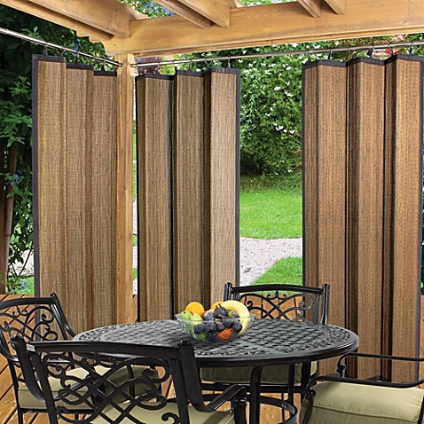Unique outdoor curtains image of easy glide indoor/outdoor bamboo ring top window curtain panel in lzpxjmo