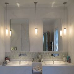 bathroom pendant lighting 2 pendants and 1 can in the middle? something similar (pendants and can qvyaaqa