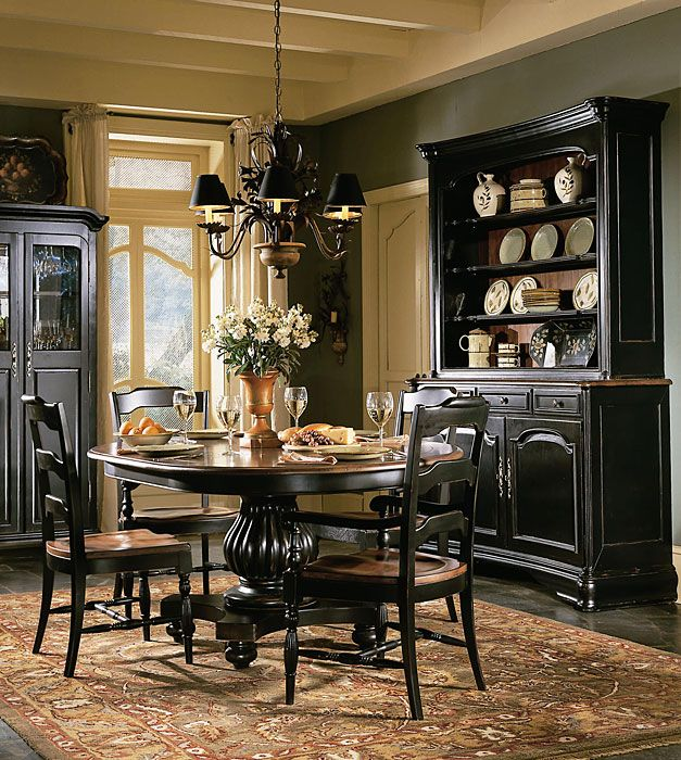 black dining room furniture hooker furniture indigo creek round dining table w leaf nctdeby