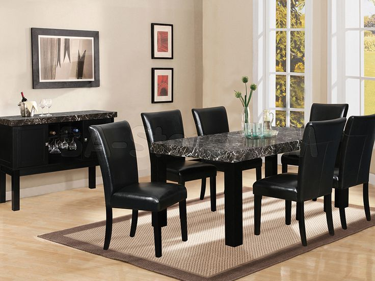 black dining table and chairs 7 piece black marble dining table | black dining room set (table with vkpfhtu