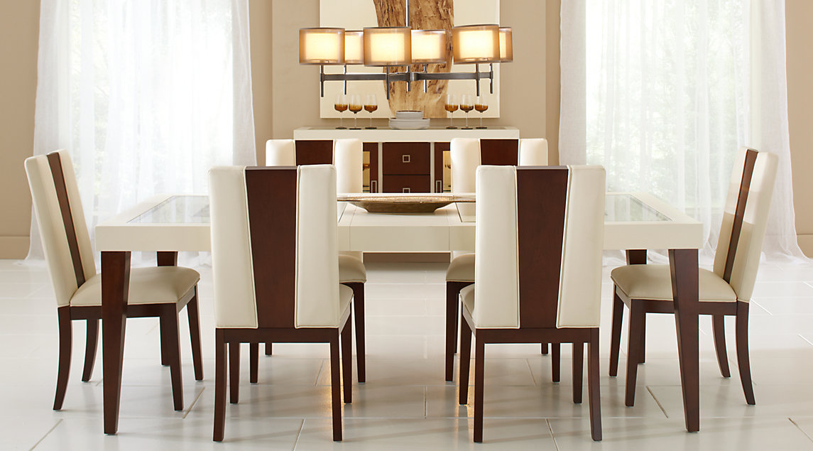 chairs for dining room table sofia vergara savona ivory 5 pc rectangle dining room busscvq