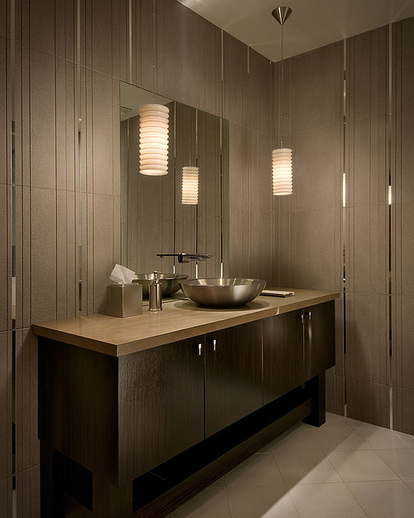 contemporary bathroom lighting view in gallery modern tiled bathroom with stylish pendant lamps zeunhom