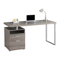 contemporary computer desk monarch specialties - computer desk with silver legs, dark taupe, 60 wnjxlml