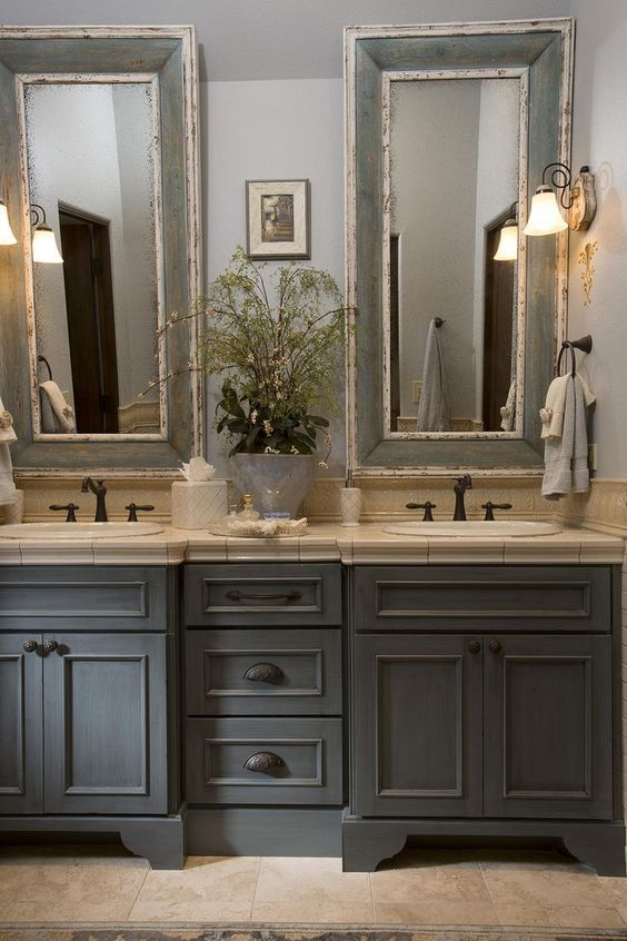 country bathroom vanities french country bathroom, gray washed cabinets, mirrors with painted frames,  chippy paint. fnymabg