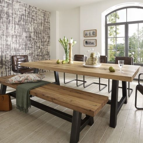 dining room sets with bench distressed wood table u0026 bench. metal legs. industrial modern design. https:/ zohcmek