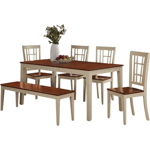 dining room table with bench nicoli 6 piece dining set liehtqz