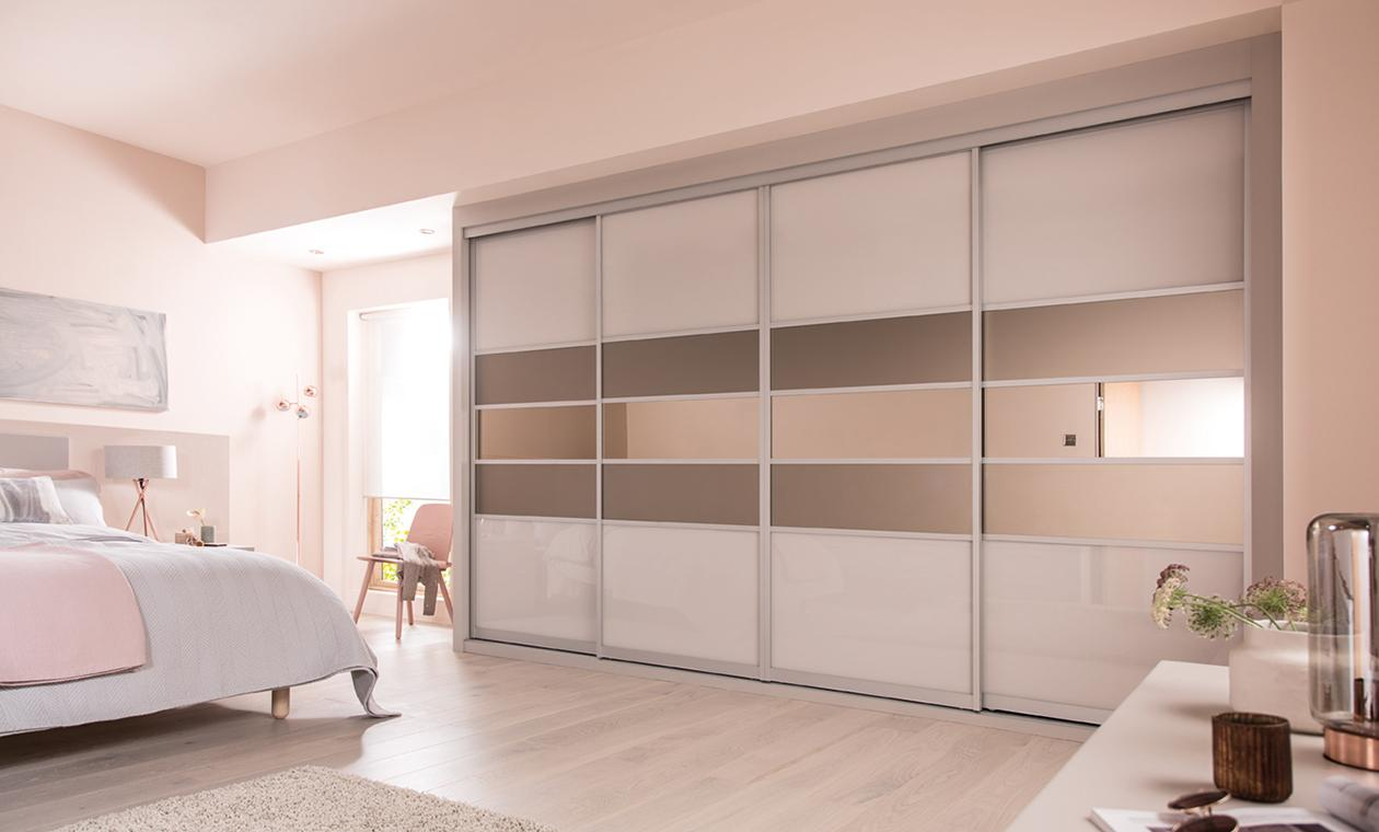 fitted wardrobes sliding doors cashmere u0026 satin bronze glass with bronze mirror mzoisdl