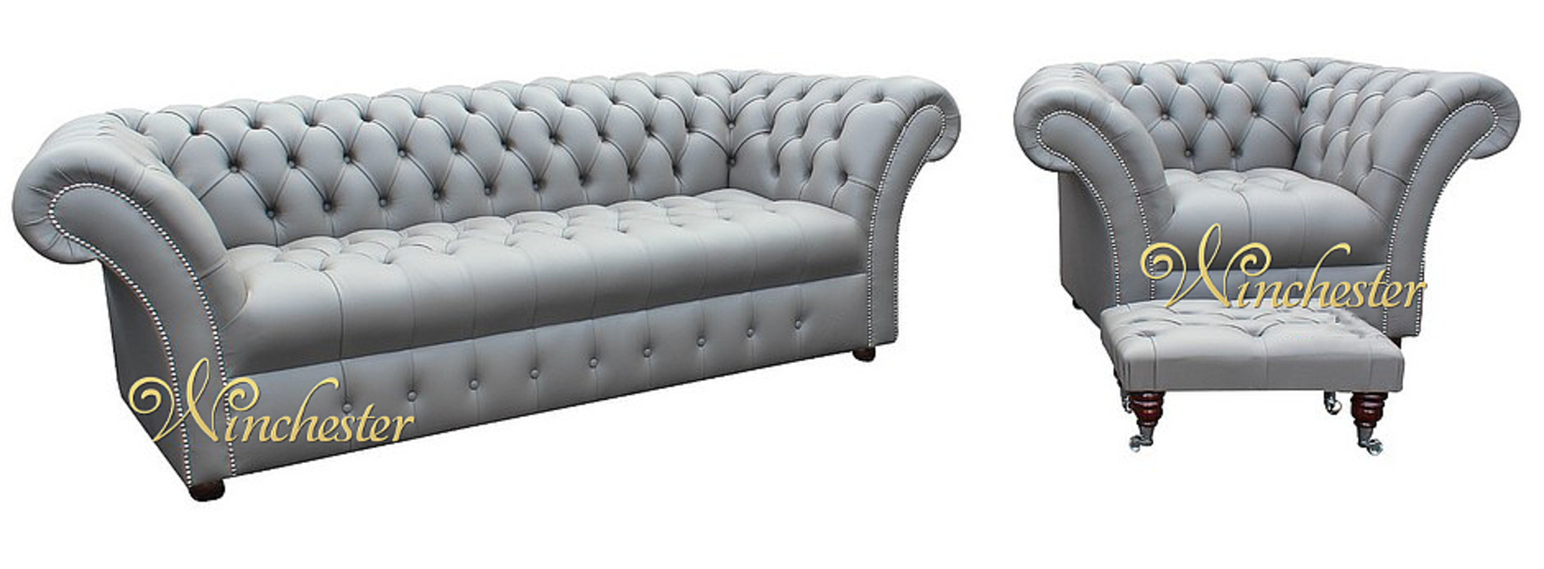 grey leather chesterfield sofa chesterfield-grosvenor-3-seater-armchair-footstool-sofa -settee-buttoned-seat-silver-birch-grey-leather-wc gvrcwqu